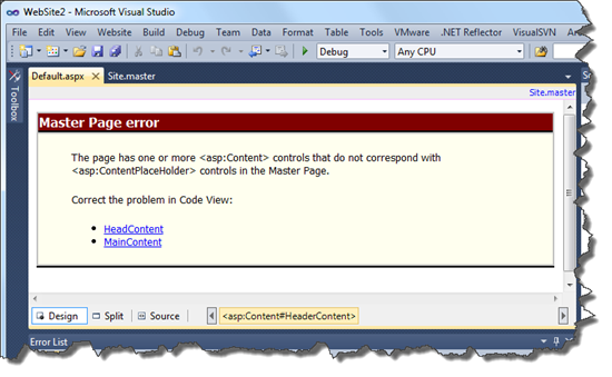 Master Page Error
