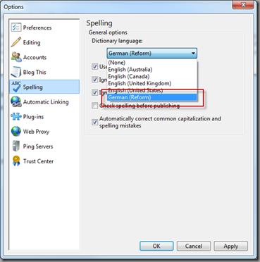Deutsche Rechtschreibung im Windows Live Write aktivieren