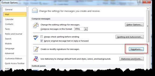 Signaturen in Outlook 2010 aus den Einstellungen bearbeiten
