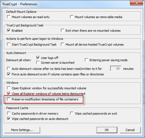 TrueCrypt Settings on Windows 7