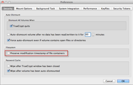 TrueCrypt Settings on OS X Lion