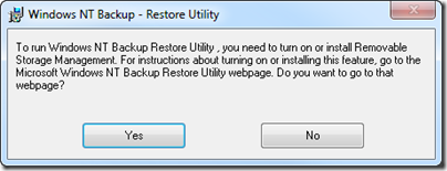 Enable Removable Storage Management Dialog
